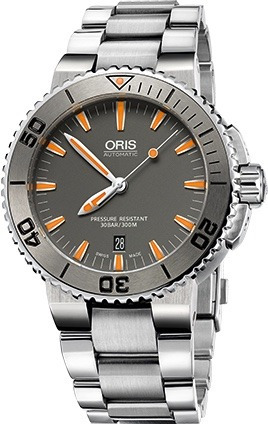 Relógio Oris Aquis 73376534158mb Automatico 43mm Cinza