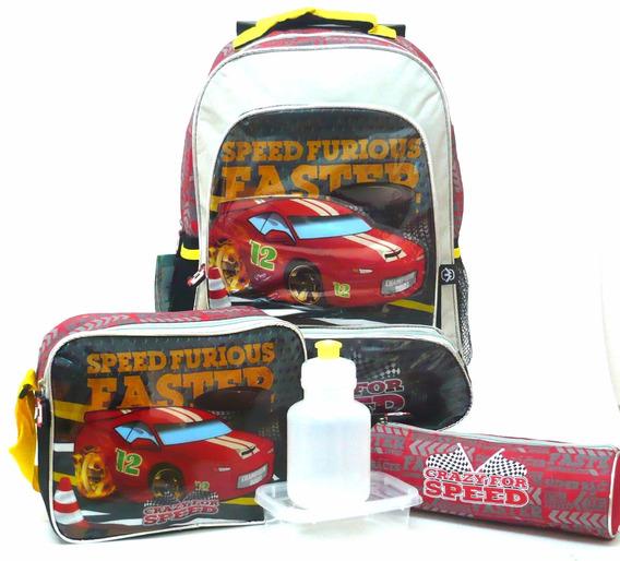 Kit Mochila Infantil Carros Crazy Speed Rodinhas Lancheira