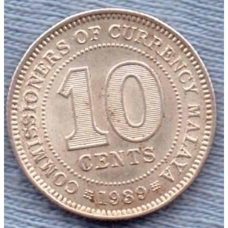 Malasia 10 Cents 1939 Plata * Colonia Inglesa *