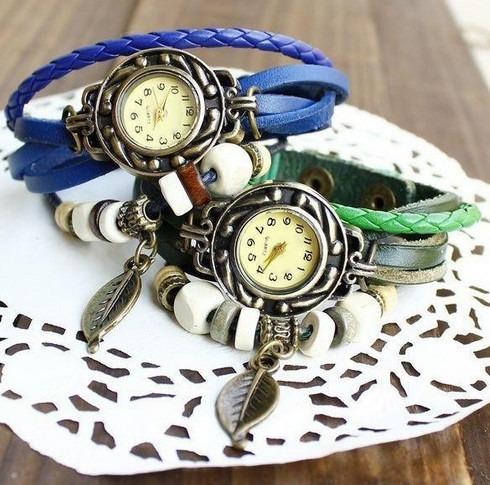 Relógio De Pulso Feminino Vintage Em Couro Várias Cores