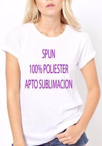Remera Lisa Spun Dama - 100% Poliester - Sublimación