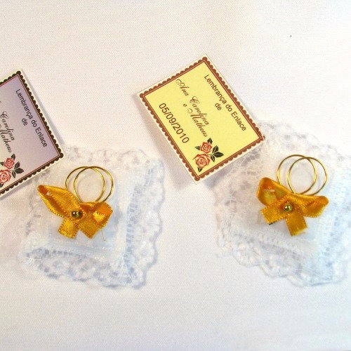Almofadinhas Lembrancinha Casamento Cor Dourado - 100 Unid