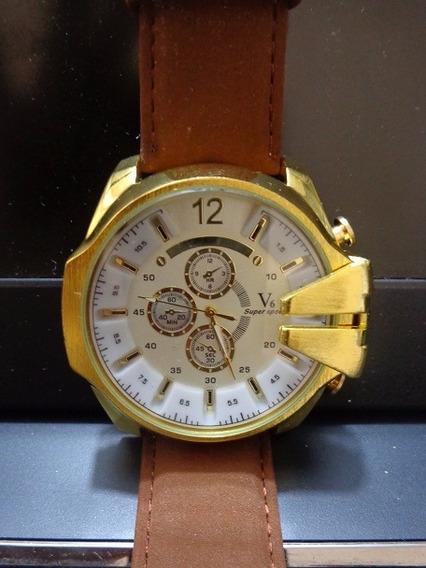 Relógio Com Pulseira De Couro V6 = Vra01