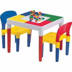 Mesa Mesinha Infantil Criança Com Blocos 2 Cadeiras Bell Toy