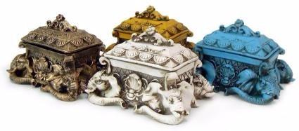 Porta Joia Elefante P/ Decoração De Resina Colorido