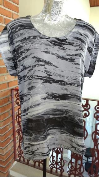 Camiseta Blusa Preta E Cinza Mesclada Tam G