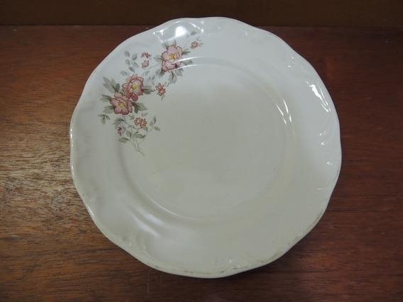 Antigo Prato Porcelana Schmidt Decoração Floreado 19,5 Cm