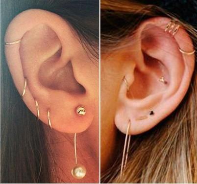 Piercing De Ouro 18k Argola Orelha Cartilagem E Nariz