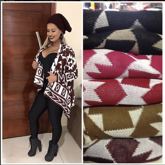 Kimono Étnico De Tricot Lã Blusa Cardigan Inverno 2017