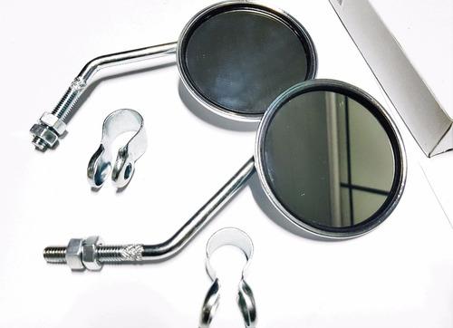 Imagem 1 de 5 de Par Espelho Retrovisor Retro Cromado Refletor Redondo Bike *