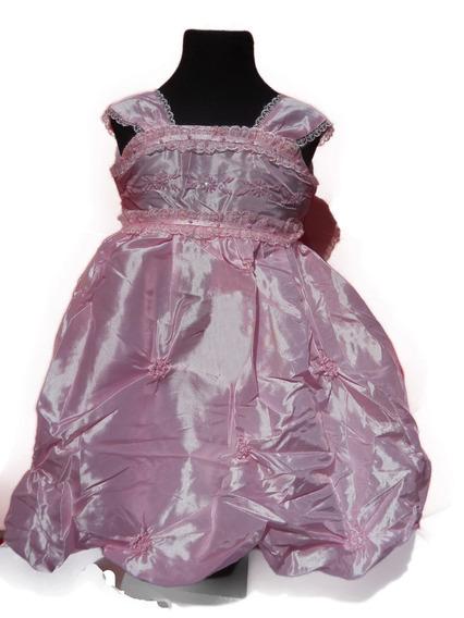 Vestido Nena Fiesta Rosa Perlas Flores Falda Globo