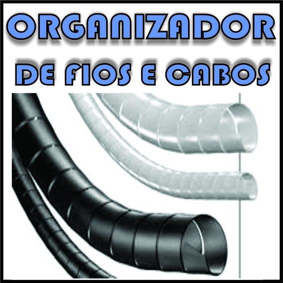Organizador De Fios E Cabos Espiral 6,4mm Preto Branco