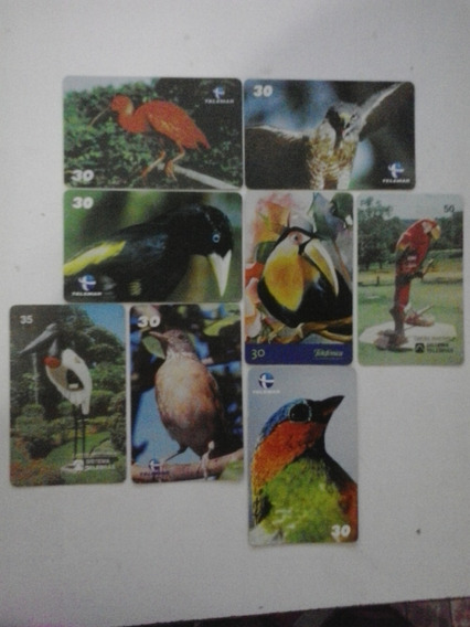 14 Cartões Telefônicos Diversos Com Passaros - Frete Grátis