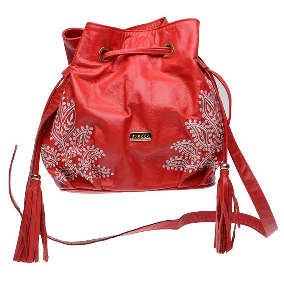 Bolsa Saco Feminina Couro Legítimo Com Bordado Vermelha