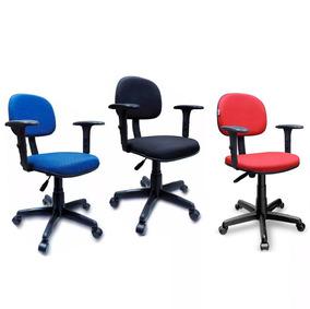 Cadeira Secretária Giratória Braço Regulável Base Preta