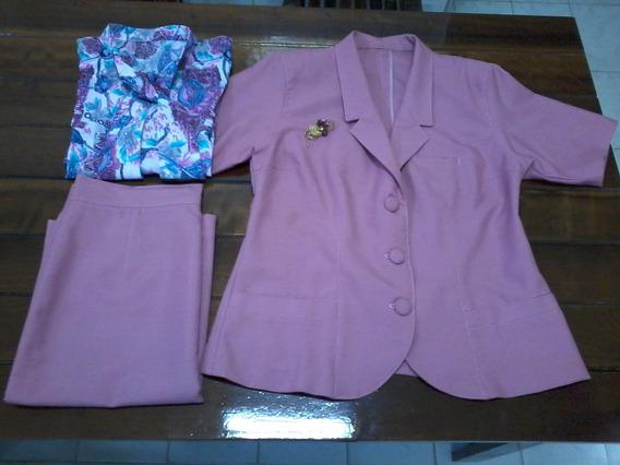 Blazer + Saia + Blusa + Broche Conjunto Usado Completo!!!
