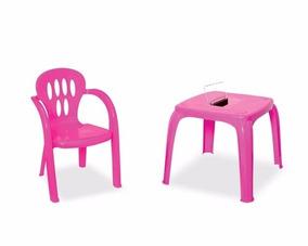 Mesinha Infantil Com Estojo E Cadeira Plastica Varias Cores
