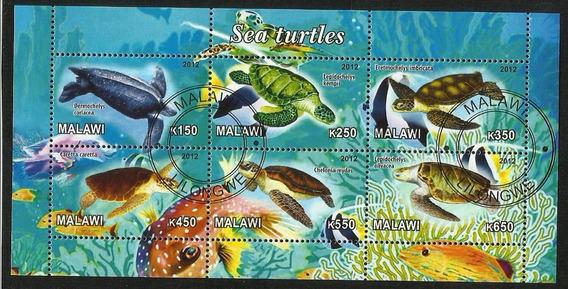 Bloque 6 Estampillas Temática Fauna Tortugas Marinas