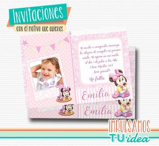 Minnie Bebé Invitación - Minnie Bebé Tarjetita Para Imprimir