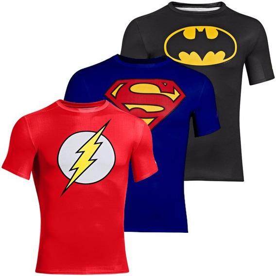 Kit 3 Camisetas Rash Térmicas Liga Da Justiça Mma/jiu-jitsu