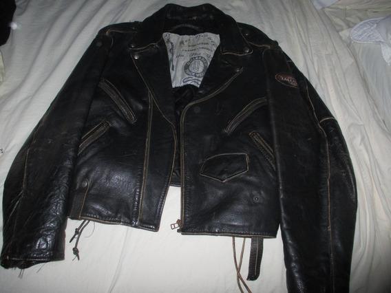 Campera Cuero Unleaded Vintage Años 80 Motoquero Metal