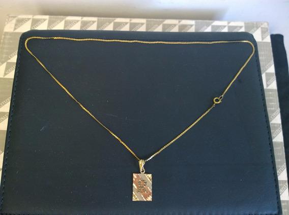 Letra R De 3 Oros Con Cadena ( 14 K )