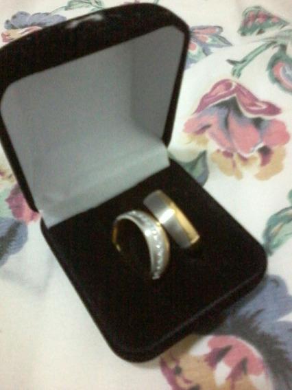 Par De Alianças De Compromisso Noivado Casamento Ouro Prata