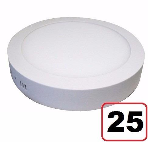 25 Painel Plafon Redondo Sobrepor Led Luminaria 6500k 18w
