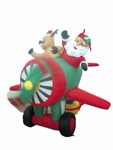 Imagen 1 de 4 de Decoracion P/ Navidad Santa Claus Helicoptero Inflable C Luz
