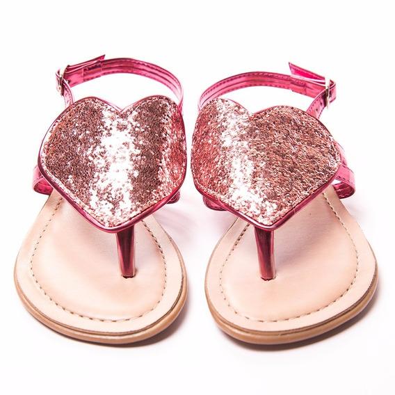 Sandália Coração Verniz Pink Glitter Menina Rio
