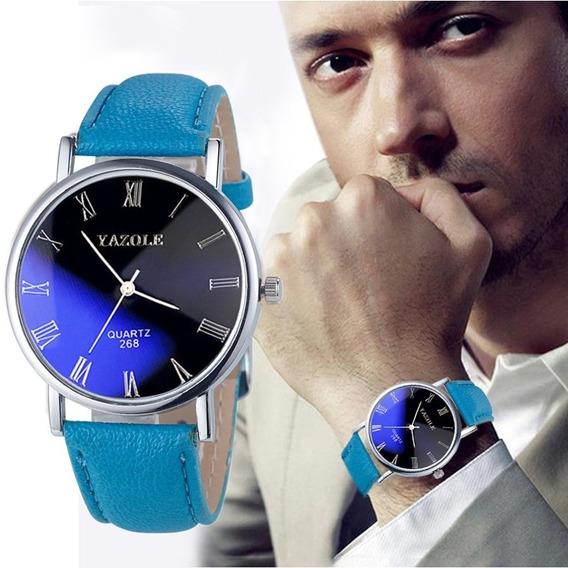 Relogio P/ Unisex Top De Luxo Yazole Quartzo C/ Vidro Azul