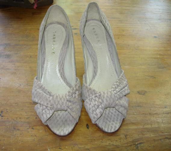 Zapatos Sarkany Cuero De Gamuza Labrada T 37- Muy Elegantes