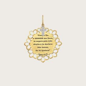 Pingente Pai Nosso Em Ouro 18k(750) Com Pedras Naturais