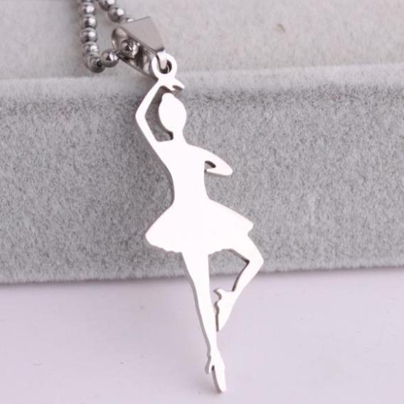 Colar Feminino Dança Bailarina De Aço Inoxidável