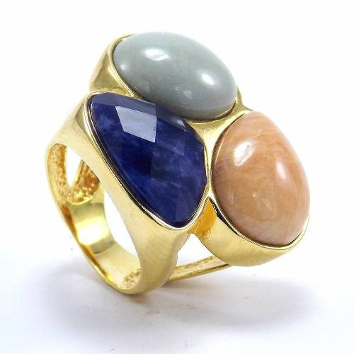 Anel Mix 3 Pedras   Sodalita, Jade Verde E Amazonita Rosê