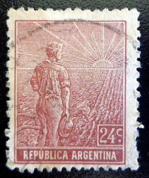 Argentina, Sello Gj 334 Labrador R. Rectos 24c. Usado L8240