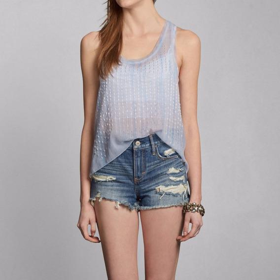 Camiseta Renda Abercrombie Feminina Azul Claro M Original