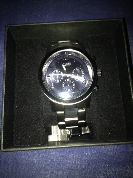 Relógio Guess Pulseira Cromada E Fundo Azul Top