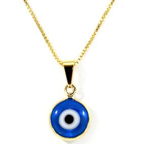 Colar Olho Grego Azul Banhado Em Ouro 18k+proteção