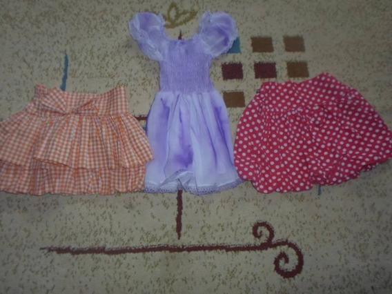 Lote Com 3 Peças Vestido E Saias Tam. 5 Anos