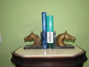 Par De Serre-livres Cavalos De Bronze Em Mármore Italiano
