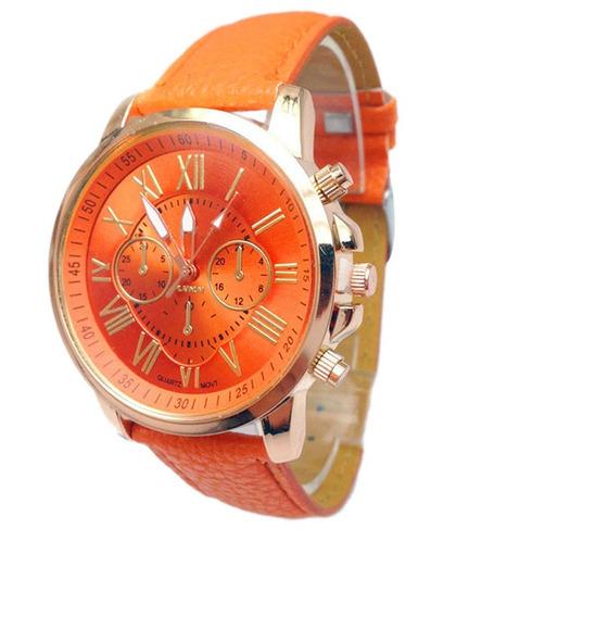 Relógio Pulso Original Geneva Couro Pu- Laranja-frete Grátis