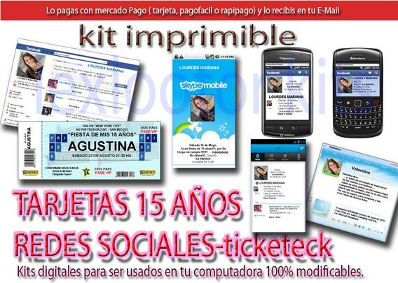 Kit Imprimible Tarjetas 15 Años Celularesl Y Tiket