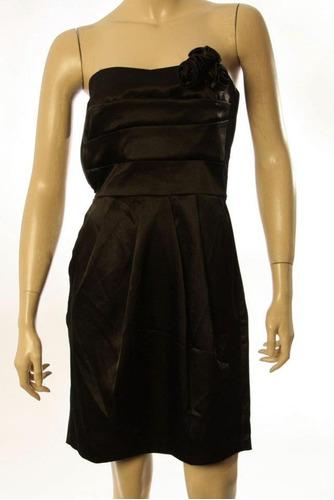 Vestido Negro Strapless Con Bolsillos. Importado Usa