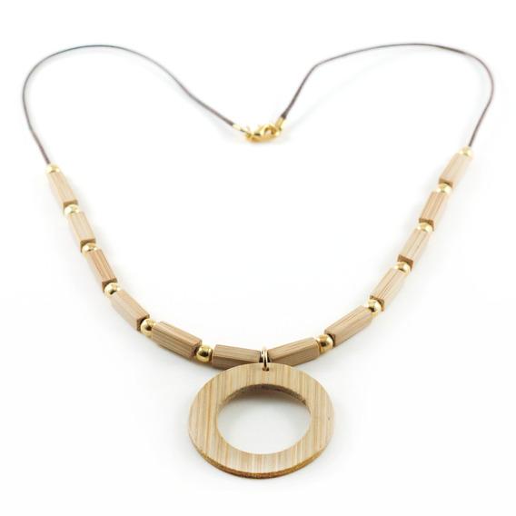 Desejo - Colar Artesanal Em Bambu E Ouro - Biojoia