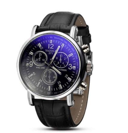 Relógio Masculino De Couro Preto.