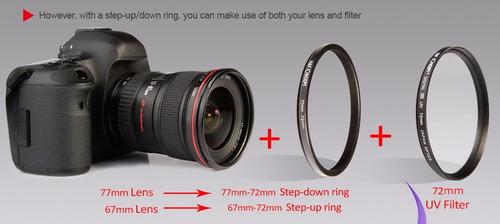 Anillo Step Down Nikon Sony Anillos adaptadores para filtros fotogr/áficos peque/ños Compatible con Lentes de Fabricantes como Canon Adaptador de Filtro para Lente de /Ø 62 a 58 mm de di/ámetro