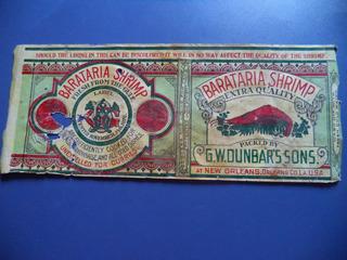 Antigua Etiqueta De Camarones Enlatados 1920
