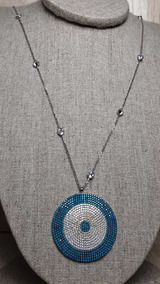 Colar De Prata 925 Com Medalhão De Zircônias Coloridas