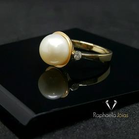 Anel Perola Diamantes Ouro Branco E Rosê